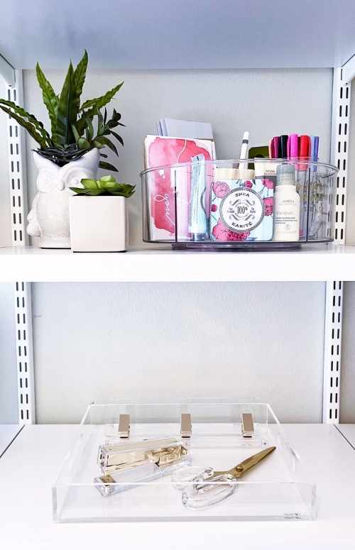 A Beautiful mess 101 and the Elfa Décor 4' White Basic Shelving Units for Anywhere