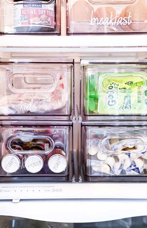 Home Kitchen Refrigerator organizing 101 with A Beautiful Mess 101 and The Container Store